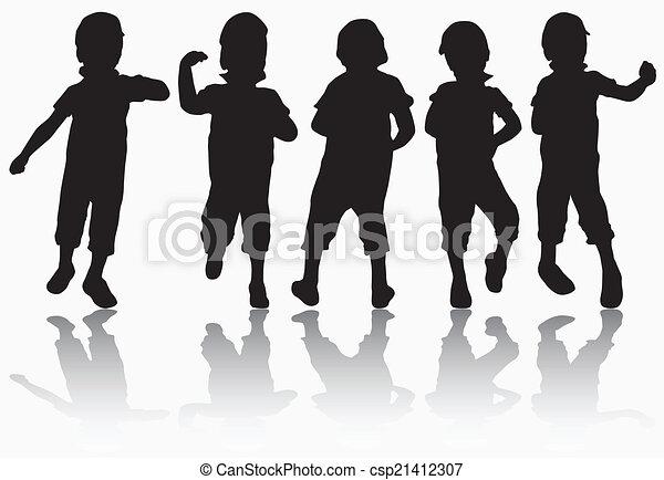 Boy in cap silhouette - csp21412307