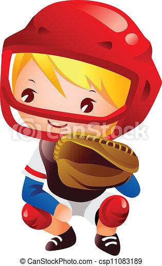 Boy in catcher position baseball - csp11083189