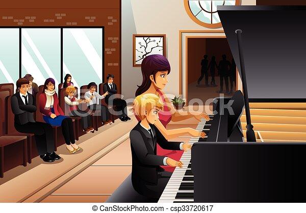 Boy in Piano Recital  - csp33720617