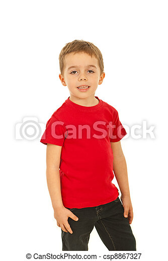 Boy in red blank t-shirt - csp8867327