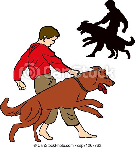 Boy in red shirt, trains a dog, character on a white background - csp71267762