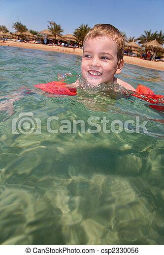 Boy in Sea - csp2330056