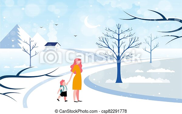 boy is walking on the road with his mother during snow - csp82291778