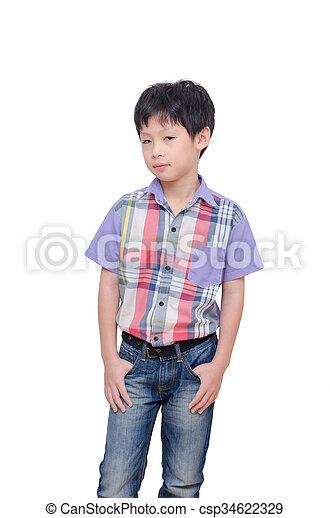 boy isolated on white - csp34622329