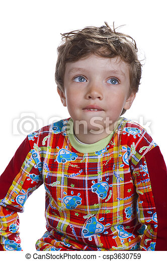 boy isolated on white - csp3630759