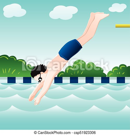 Diving into a pool clipart