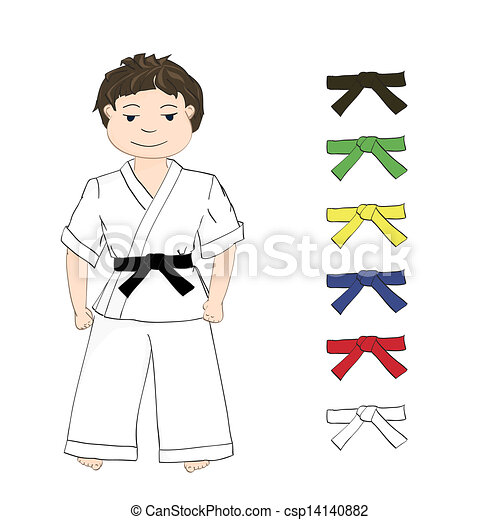Boy Karate And Colored Belts