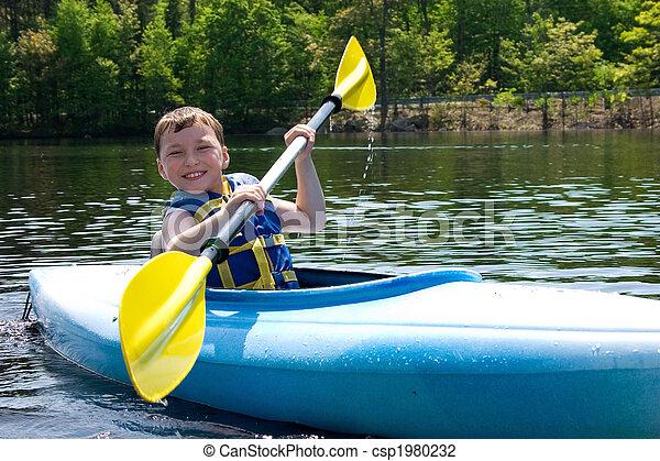 Boy kayaking - csp1980232