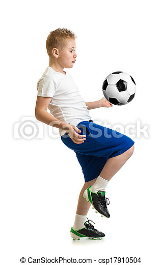 boy kicking soccer ball by knee isolated on white training exercise