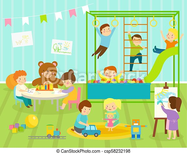 Boy kids vector kindergarten room with big slide swing with light furniture decor. Young baby kids playground toys robot, train, balls playroom apartment decorating - csp58232198