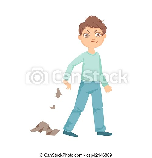 boy littering teenage bully demonstrating mischievous uncontrollable  delinquent behavior cartoon illustration. cute big-eyed | canstock  can stock photo