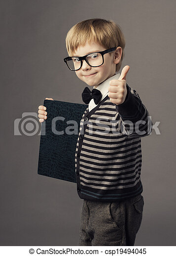 boy little smart child in glasses showing blank card certificate, school education advertisement - csp19494045