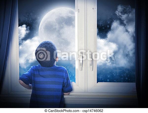 Boy Looking at Night Moon and Stars - csp14746062