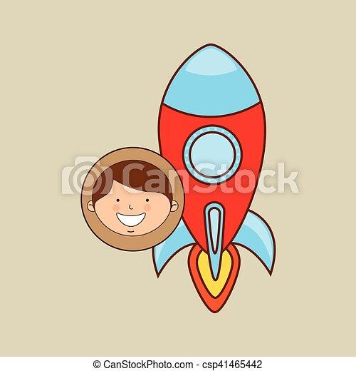 boy lovely smiling rocket graphic - csp41465442