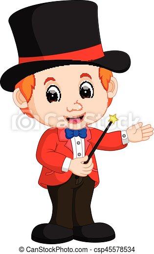 Boy Magician cartoon - csp45578534