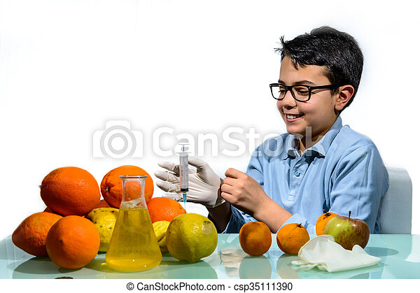 Boy Make the Experiments with Fruit. - csp35111390