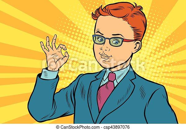 Boy OK gesture - csp43897076