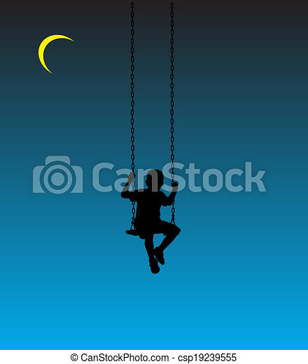 boy on a swing at moon - csp19239555