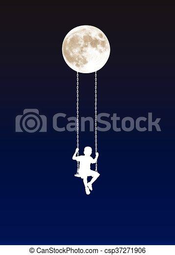 boy on a swing at moonlight - csp37271906