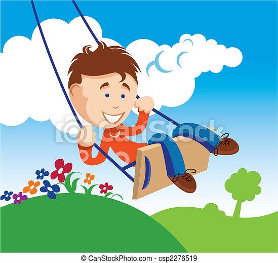 Boy on a Swing - csp2276519