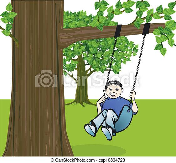 Boy on a swing - csp10834723