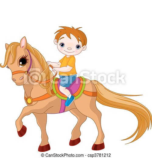 Boy on horse - csp3781212