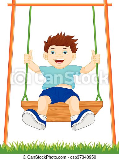 boy on swing in the park - csp37340950