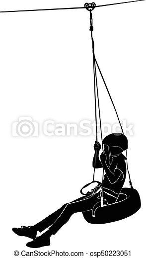 Boy on swing. rope park - csp50223051