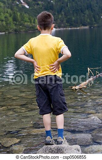 boy on the lake - csp0506855