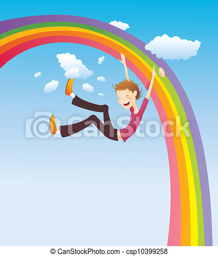 Boy on the rainbow - csp10399258