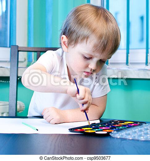Boy painting - csp9503677