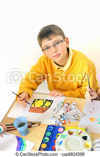 boy  painting - csp6824598