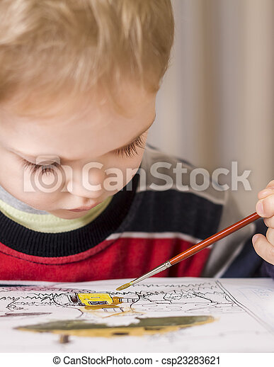 boy painting - csp23283621