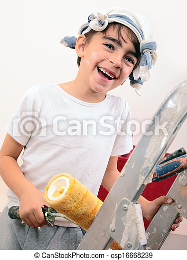 boy painting - csp16668239