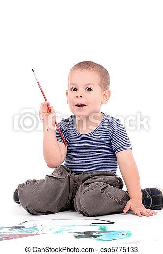 boy painting - csp5775133