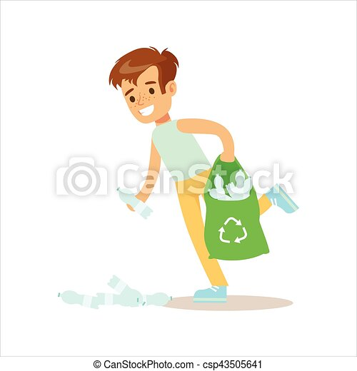 Boy picking up recycle...