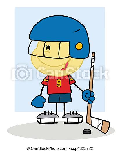 Little Boy Playing A Hockey Goalie Cartoon Character