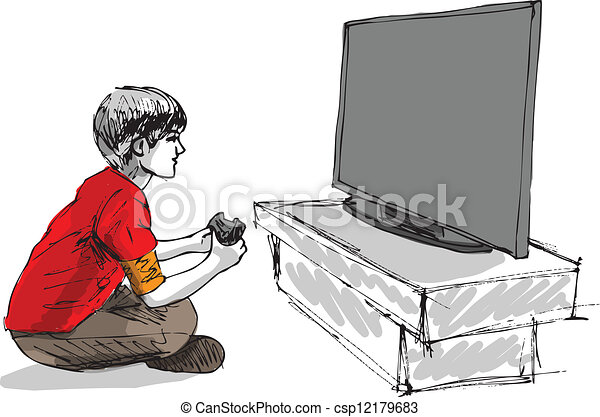 Boy playing computer game - csp12179683