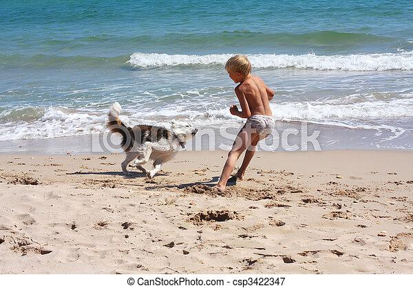 boy playing dog on the sea - csp3422347