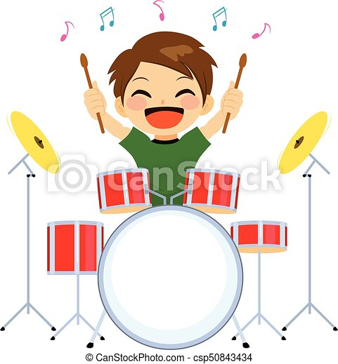 boy playing drums cute young little boy happy playing drums vectors rh canstockphoto com drums clip art free drums clip art free