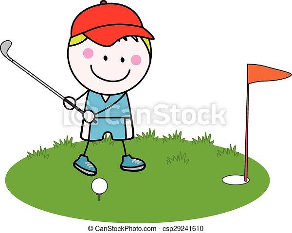 boy playing golf - csp29241610