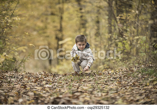 boy playing in a forest - csp29325132