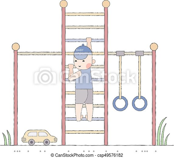 Boy playing in the playground on the stairs - csp49576182