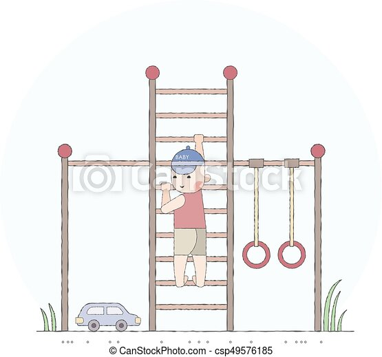 Boy playing in the playground on the stairs - csp49576185