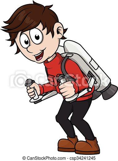 Boy playing jet pack - csp34241245