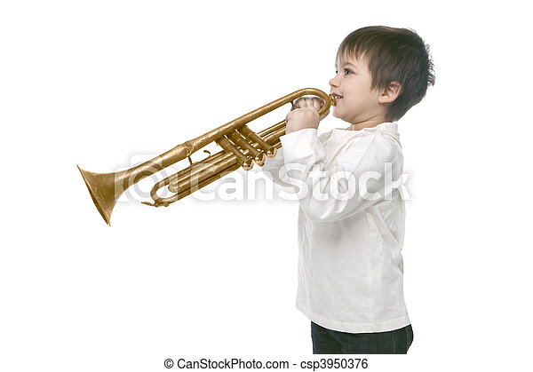 Boy playing on a trumpet - csp3950376