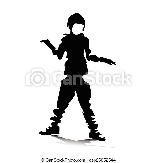 boy playing vector silhouette  - csp25052544