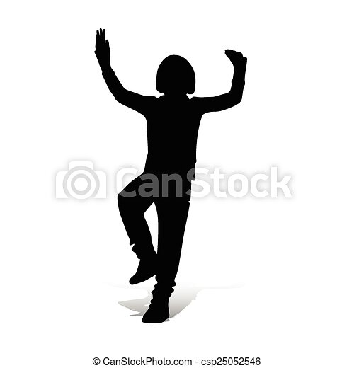 boy playing vector silhouette  - csp25052546