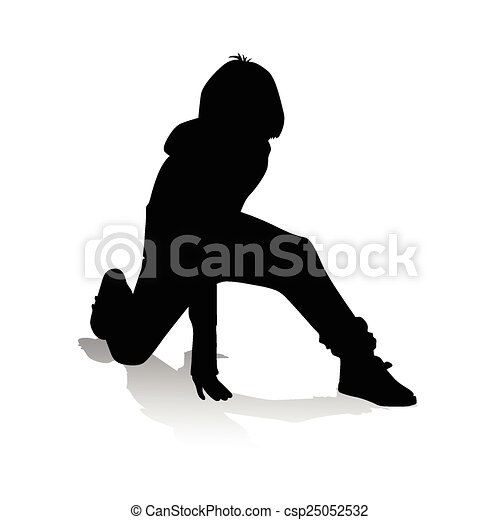 boy playing vector silhouette - csp25052532