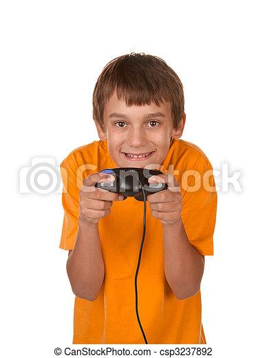boy playing video game - csp3237892